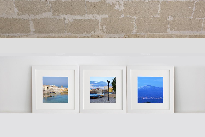 Fotografie colorate di paesaggi in formato quadrato trittico per arredare ambienti moderni con foto d'autore