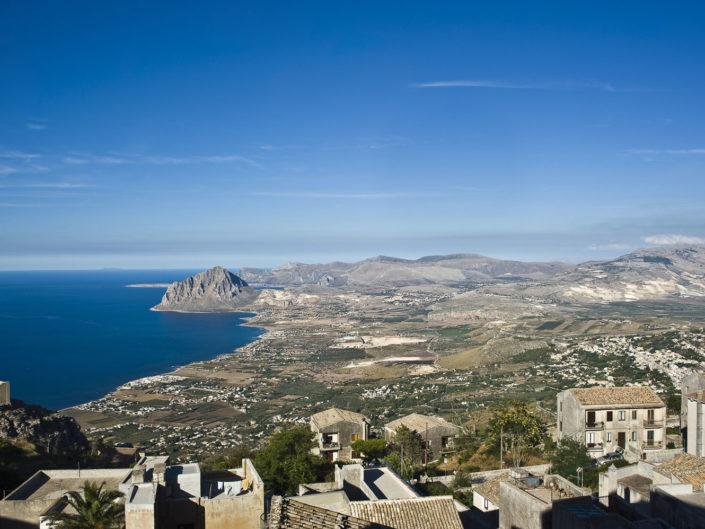 Stampa su tela per arredo di una fotografia panoramica scattata da Erice con Monte Cofano ed i mare