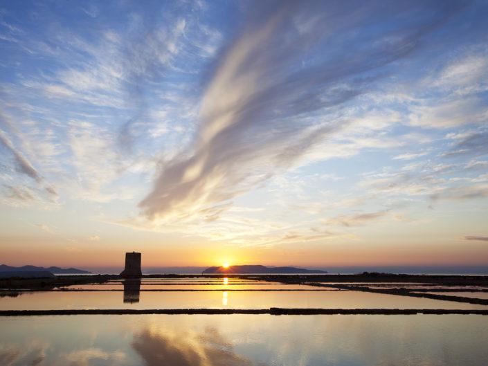 Quadro per arredare di una fotografia stampata su tela delle saline al tramonto