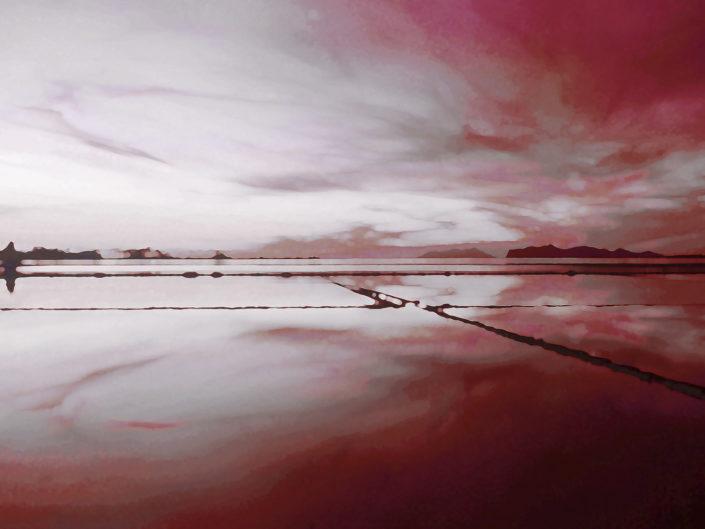Foto per arredo moderno o classico stampata su tela o su pannello in vari formati Riflessi rossi sulle saline
