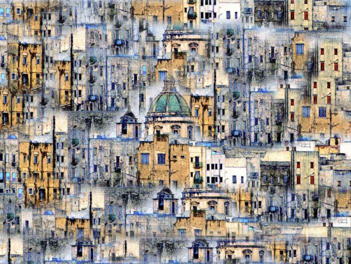 Stampa su tela o pannello Cupola e case astratte in vari dimensioni formati personalizzabili Foto artistica di Nino Lombardo